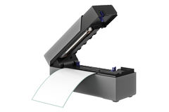 Barcode printer digital. Barcode printer open digital electronic printout. 3D graphic Stock Photography