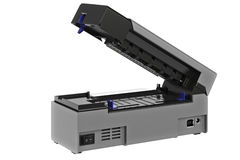 Barcode printer open. Barcode printer digital open gray printer. 3D graphic Stock Image