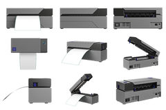 Barcode printer set. Barcode printer office electronic set. 3D graphic Stock Photo