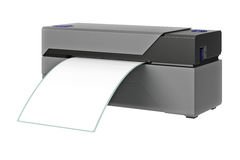 Barcode printer technology. Barcode printer gray office technology. 3D graphic Stock Image