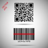 Barcode and QR code isolated. Vector barcode matrix to track product information, date identification and marketing. Eps 10 royalty free illustration