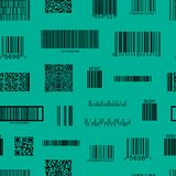 Barcode and QR Code Seamless Pattern Background. Vector stock illustration