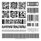 Barcode and QR code set Stock Image