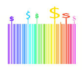 Barcode in rainbow colors with dollar money sign Stock Image