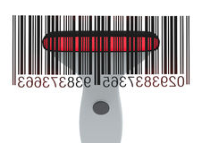 Barcode reader. Closeup of a barcode reader that reads a bar code (3d render Stock Images