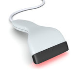 Barcode reader. Closeup of a barcode reader with a red light (3d render Royalty Free Stock Image
