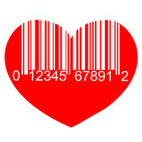 Barcode red heart Stock Photo
