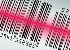 Barcode with red laser beam Stock Images