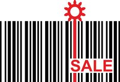 Barcode with red sale text and gear icon Royalty Free Stock Images