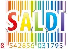 Barcode saldi Aufkleber Stockfoto