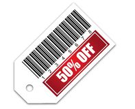 Barcode with sale 50% OFF sticker. Barcode With sale 50% OFF Royalty Free Stock Photo