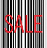 Barcode and Sale Text Macro Closeup Isolated Stock Photo