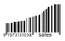 Barcode sales. Illustration of barcode with increasing bar size Royalty Free Stock Photo
