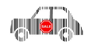 Barcode samochód z sprzedaż majcherem Obrazy Stock