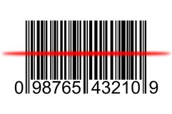 Barcode sanning. Image of bar code being scanned with laser scanner Royalty Free Stock Image