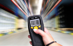 Barcode Scanner. Handheld Computer for barcode scanning identification royalty free stock images