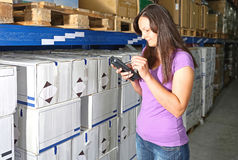 Barcode Scanner Woman Stock Photo