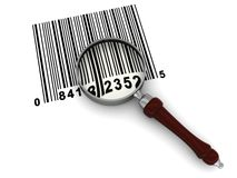 Barcode scanning. 3d illustration of magnyfy glass and barcode over white background Stock Photos
