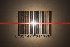 Barcode scanning. Close-up photograph of barcode on package royalty free stock photo