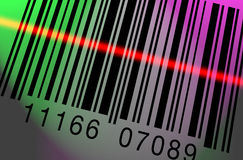 Barcode Scanning Colorful. Barcode being scanned on a colorful lighted backgroun Stock Illustration