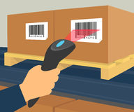 Barcode scanning at the warehouse Stock Photo