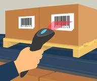 Barcode scanning at the warehouse. Human hand is scanning a box with barcode at the warehouse Stock Photo