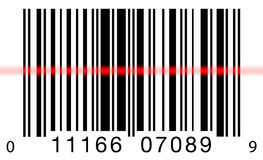 Barcode Scanning on White. Scanning a barcode on a white background with a red laser scanner Stock Photo
