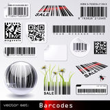 Barcode-set. Set of different types of barcodes placed on labels and other objects Stock Images