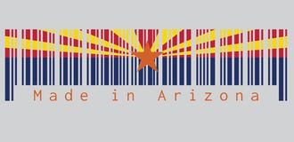 Barcode set the color of Arizona flag, The states of America, red and weld-yellow on the top half. stock photos