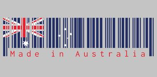 Barcode set the color of Australia flag, blue red and white color with white star and Union Jack with text: Made in Australia. stock illustration