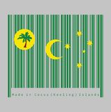 Barcode set the color of Cocos Keeling Islands flag, a palm tree on a gold disc, crescent and southern cross on green royalty free illustration