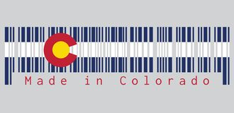 Barcode set the color of Colorado flag, Three horizontal stripes of blue, white, and blue. On top of these stripes sits a circular vector illustration