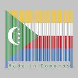 Barcode set the color of Comoros flag, yellow white red and blue with green chevron, crescent and star vector illustration