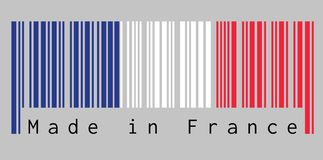 Barcode set the color of France flag, the blue white and red color on grey background with text: Made in France. stock illustration