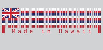 Barcode set the color of Hawaii flag, Eight alternating horizontal stripes of white, red, and blue, with a Union flag. vector illustration