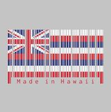 Barcode set the color of Hawaii flag, Eight alternating horizontal stripes of white, red, and blue, with a Union flag in the stock illustration