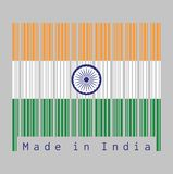 Barcode set the color of India flag, tricolor of India saffron, white and green with the Ashoka Chakra wheel royalty free illustration