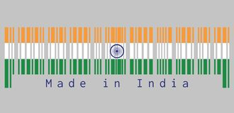 Barcode set the color of India flag, tricolor of India saffron, white and green with the Ashoka Chakra wheel. vector illustration
