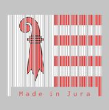 Barcode set the color of Jura flag, The canton of Switzerland with text Made in Jura. Concept of sale or business