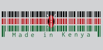 Barcode set the color of Kenya flag, black white red and green with two crossed white spears behind a red, and black Maasai shield. Text: Made in Kenya vector illustration