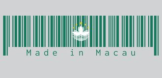Barcode set the color of Macau flag, green with a lotus and stylised Governor Nobre de Carvalho Bridge and water in white. vector illustration
