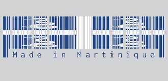 Barcode set the color of Martinique flag, Four white snake on blue field and white cross in the center. text: Made in Martinique. Concept of sale or business royalty free illustration