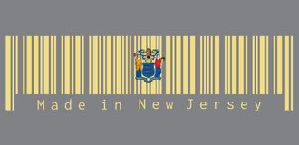 Barcode set the color of New Jersey flag, the states of America. The state coat of arms on buff color. text: Made in New Jersey.