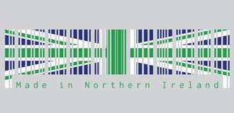 Barcode set the color of Northern Ireland flag, green union flag. text: Made in Northern Ireland concept of sale. vector illustration
