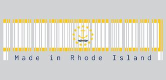 Barcode set the color of Rhode Island flag, Gold anchor, surrounded by 13 gold stars on white. A blue ribbon below the anchor contains the text `hope`.text stock illustration