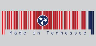 Barcode set the color of Tennessee flag, A blue circle with three white five-pointed stars on a rectangular field of red. Barcode set the color of Tennessee vector illustration