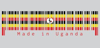 Barcode set the color of Uganda flag, black yellow and red ; a white disc depicts the national symbol, a grey crowned crane. Text: Made in Saint Uganda royalty free illustration