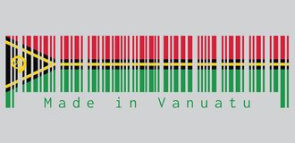 Barcode set the color of Vanuatu flag, text: Made in Vanuatu. Barcode set the color of Vanuatu flag, red and green with black and yellow color boar`s tusk stock illustration