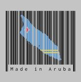 Barcode set the shape to Aruba map outline and the color of Aruba flag on black barcode with grey background. stock illustration