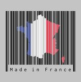 Barcode set the shape to France map outline and the color of France flag on black barcode with grey background vector illustration